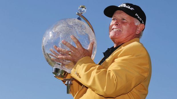 Peter Senior of Australia poses with the trophy after winning the 2015 Australian Masters at Huntingdale.