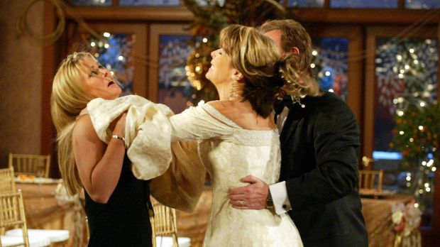 Action from <i>Days of Our Lives</i>:  Lauren Koslow, Alison Sweeney and Josh Taylor at a wedding gone soapily wrong.