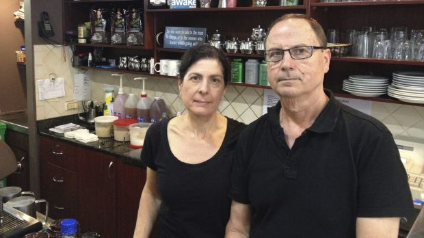 """They're taking away our livelihood'': Deanne and Spiro Coucouvinis at their cafe they have run since 2003."
