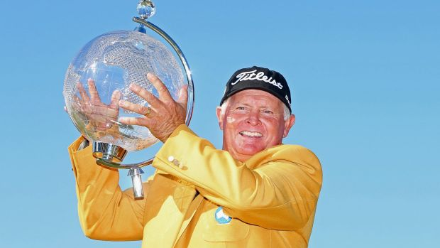 Senior poses with the Australian Masters trophy.