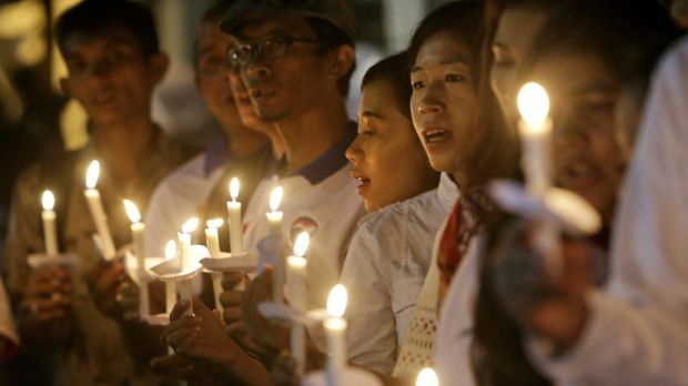 A candlelight vigil for the victims of the Paris attacks in Jakarta on November 16.