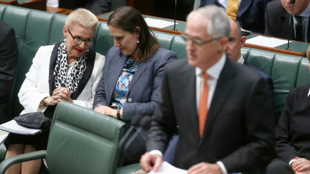Former speaker Bronwyn Bishop speaks with Kelly O'Dwyer during PM's ministerial statement on national security last month.