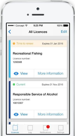 A mock up of NSW digital licences coming mid-2016.