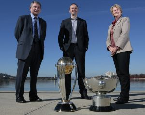 Former cricket ACT chairman Ian McNamee, then deputy chief minister Andrew Barr and Capital Football head Heather Reid ...