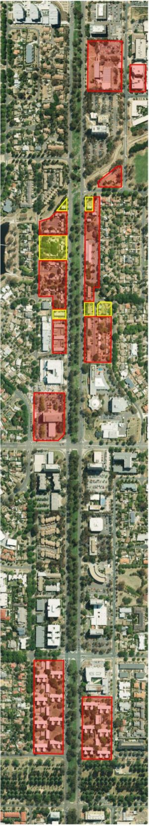 Northbourne Avenue public housing: Buildings marked in red will be demolished, those in yellow will be protected.