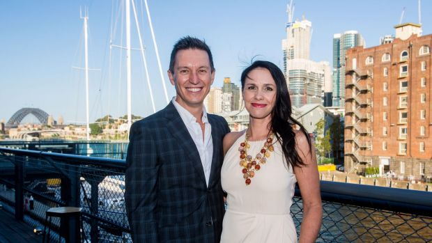 Tasma Walton, star of new ABC TV drama <i>Cleverman</i>, with husband Rove McManus at the 2016 programming launch on Tuesday.