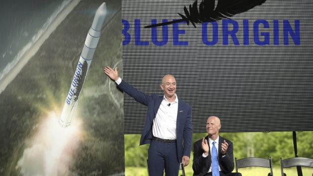 Amazon CEO Jeff Bezos, as he unveiled a Blue Origin rocket, at the Cape Canaveral Air Force Station in Florida two ...