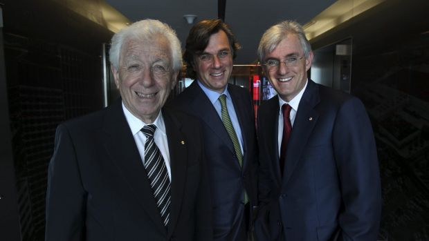Well paid at Westfield ... Frank Lowy with sons Peter (centre) and Steven.