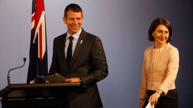"""""""A stunning result for the people of NSW"""": Mike Baird and Gladys Berejiklian."""