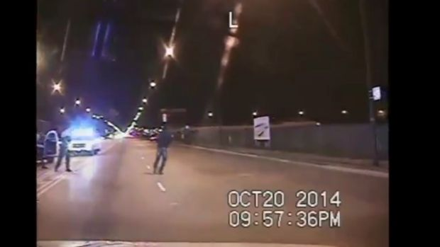 Images from the police dashcam video showing the moments Laquan McDonald was shot.