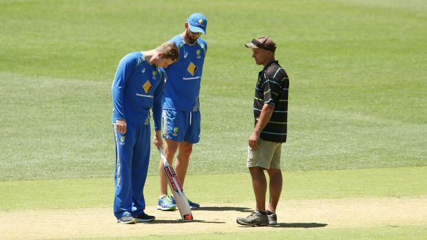 Inspection: Steve Smith and Nathan Lyon speak to Adelaide Oval curator Damian Hough.
