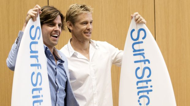 SurfStitch founders Lex Pedersen, left, and Justin Cameron have watched the value of their shares crash after backing ...