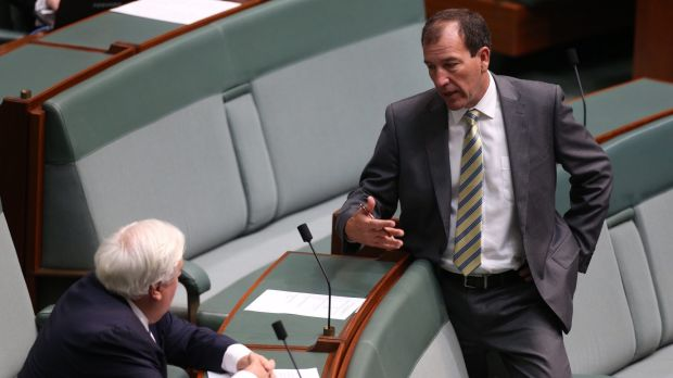 Mal Brough and Clive Palmer at Parliament House in Canberra on Tuesday.