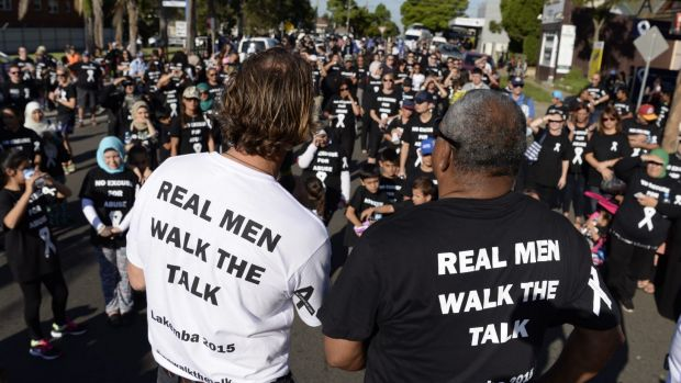 Crowds at a White Ribbon Day March in 2015.