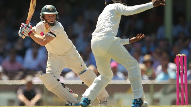 Chris Rogers plays a cover drive during day four of the fourth Test between Australia and India at Sydney Cricket Ground ...