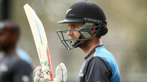 Kane Williamson waits for his chance to have a bat in the nets at Adelaide Oval on Wednesday.