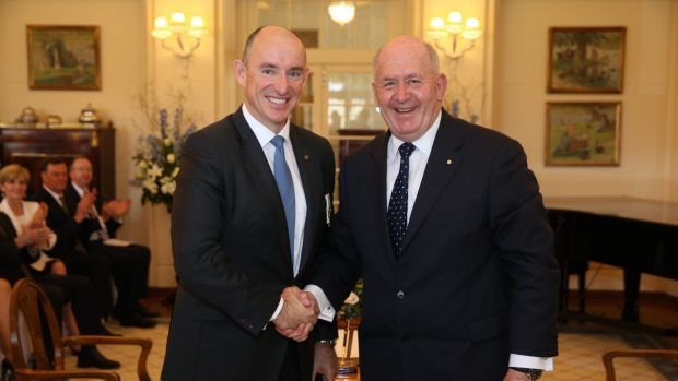 Busy man ... Stuart Robert is sworn in as Minister for Human Services and Minister for Veterans' Affairs by ...