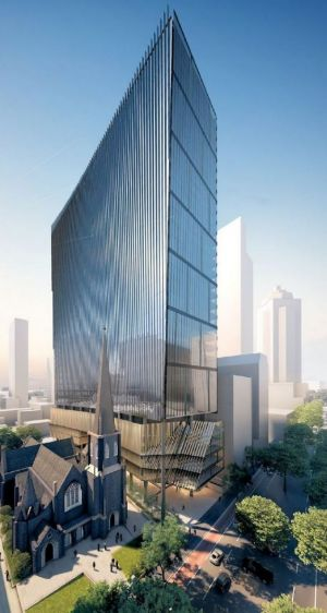 Leighton's planned 50-storey office building on the site of the Princess Mary Club in Lonsdale Street, next to Wesley Church.