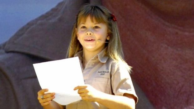 Bindi Irwin, daughter of Australian environmentalist and television personality Steve Irwin, reads out a tribute at a ...