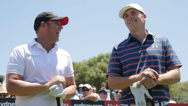 Star power: Shane Warne and Jordan Spieth share a laugh before the Australian Open pro-am.