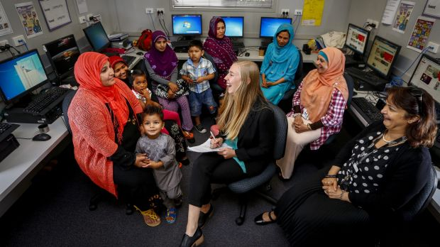 Mothers gathered at Noble Park Primary with Zoe Seeberg-Gordon (centre) from the Australian Multicultural Foundation to ...