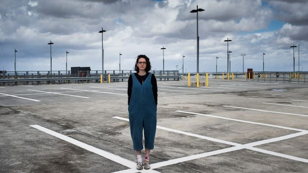 Filmmaker Elle Marsh at the Melbourne Airport carpark - the star of her new film Vacant.