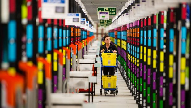 Amazon fulfilment centre: The boom in digital shopping appears to slowing to a more moderate pace.
