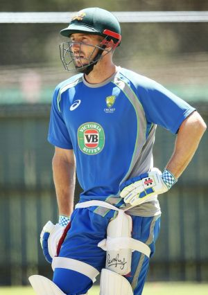 Shaun Marsh waits for his chance in the nets at Adelaide Oval on Thursday.
