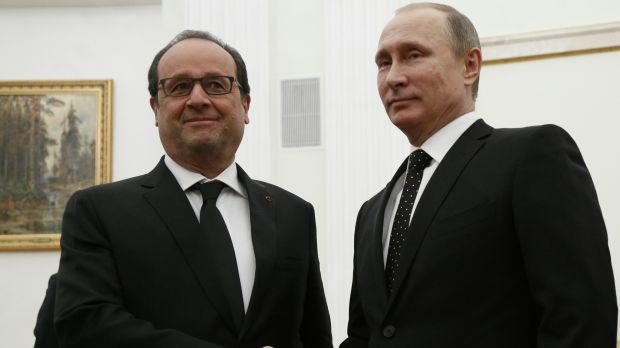 'Our enemy is Islamic State': French President Francois Hollande meets Russian President Vladimir Putin in Moscow on ...