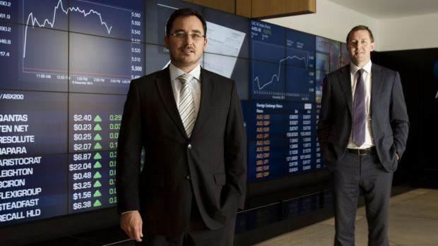 On-Market Bookbuild chief executive officer Ben Bucknell and managing director Tim Eisenhauer at the ASX.