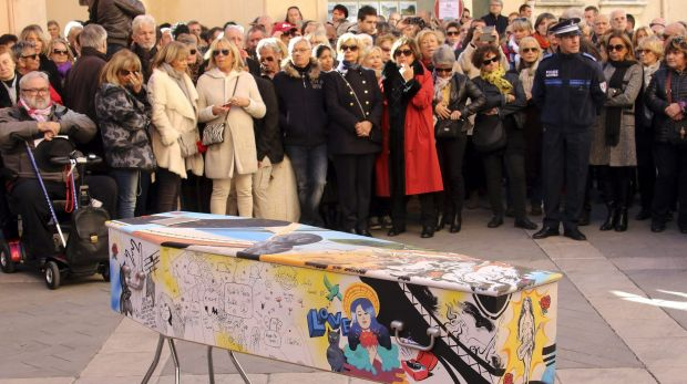 The painted coffin of  Aurelie de Peretti, who was killed at the Bataclan concert hall during the Paris attacks, is ...