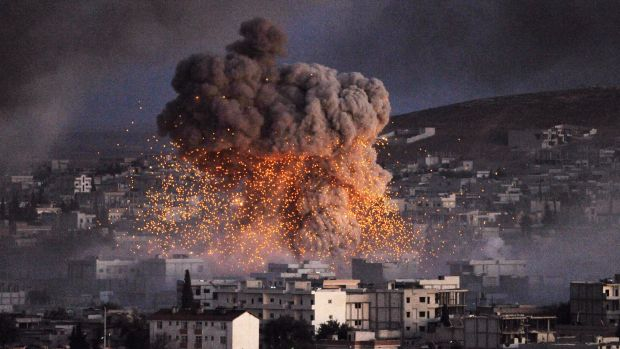 An explosion rocks the Syrian town of Kobane during a battle between Islamic State and the Kurdish forces last year.