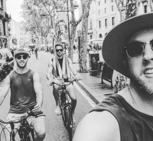 Nic White, Andrew Smith and Jesse Mogg enjoy a ride around the European streets.