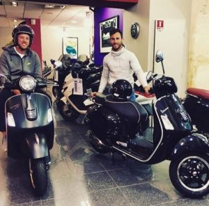 Nic White and Jesse Mogg show off their scooters in France,