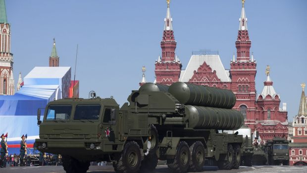 A Russian S-400 air defence missile system seen during a military parade in Red Square.