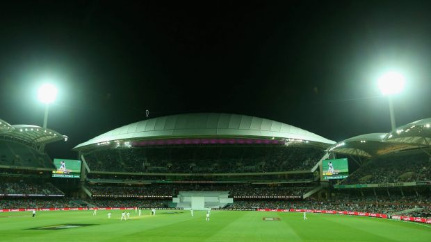 A general view of play under lights during day one of the third Test.