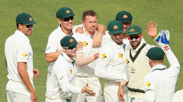 All smiles: The Aussies celebrate the wicket of Ross Taylor.