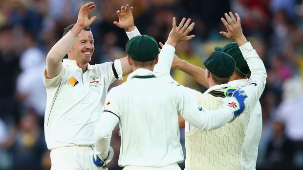 Peter Siddle celebrates after dismissing Doug Bracewell, his 200th scalp in Test cricket.