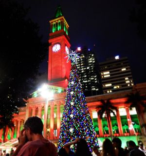 The King George Square Christmas tree is lit.