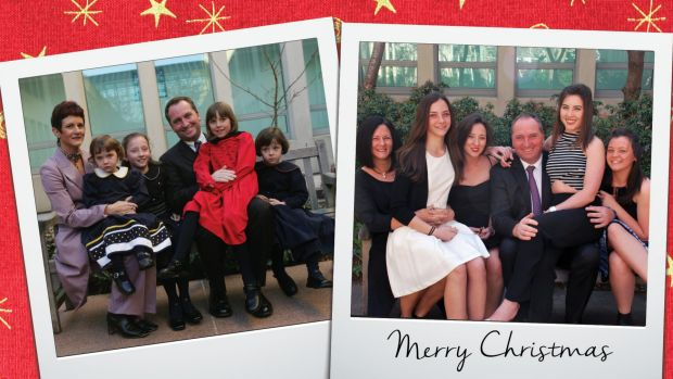 The 2015 Christmas card that Barnaby Joyce will be mailing out which shows him and his family in 2005 on a bench outside ...