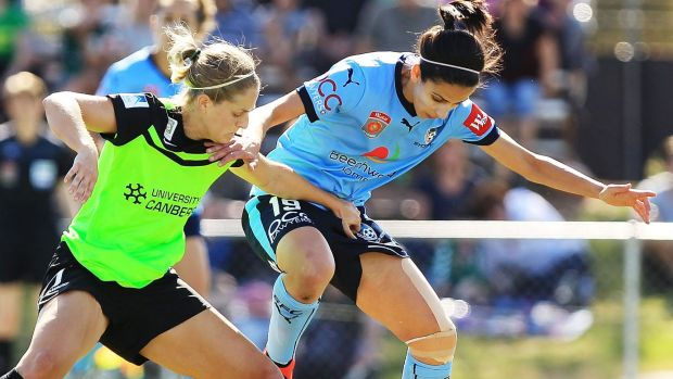 Canberra United defender Ellie Brush (left) wants the W-League to have a full home and away season.