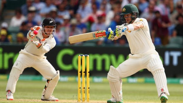 Hot shot: Peter Nevill shows his style on the way to top-scoring in Australia's first innings.