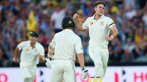 Mitch Marsh picks up the valuable wicket of Kane Williamson as Australia gets on top of New Zealand late on day two.
