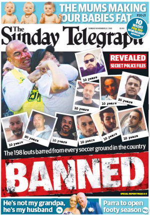 <i>The Sunday Telegraph</i>'s front page on November 22, 2015.