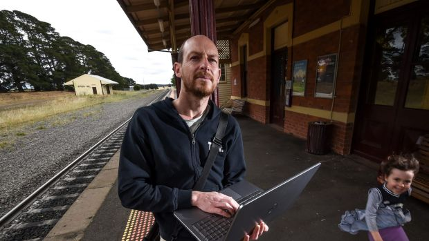 Wayne Bell commutes from Ballan to Melbourne each day for work. His is unable to connect to the internet all the way due ...