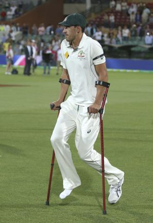 Worse for wear: Australia's Mitchell Starc uses crutches following their win over New Zealand in Adelaide.