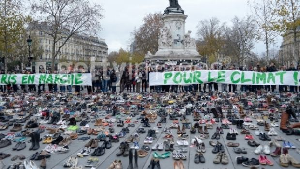 The Place de le Republique is covered with shoes representing the victims of the Paris terror attack during a rally ...