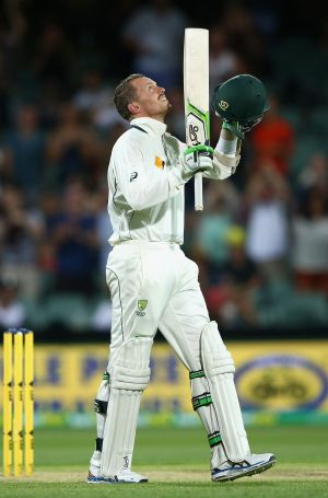 Siddle looks to the sky after hitting the winning runs.