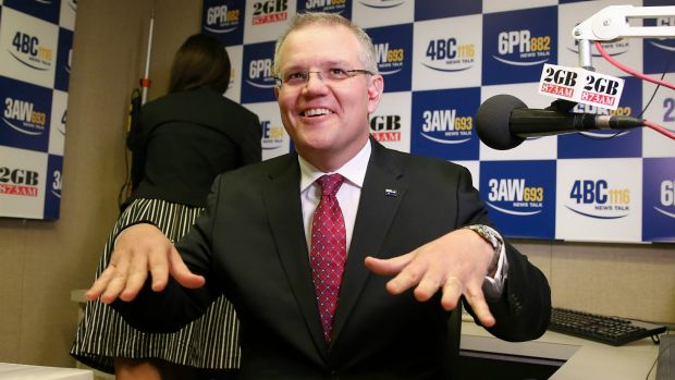 Treasurer Scott Morrison does his Taylor Swift 'shake it off' dance move ahead of a morning radio interview last year.