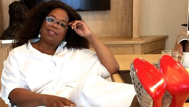 Ahead of her Australia and New Zealand tour, Oprah Winfrey has offered up these sparkling Louboutin peep-toes to be ...